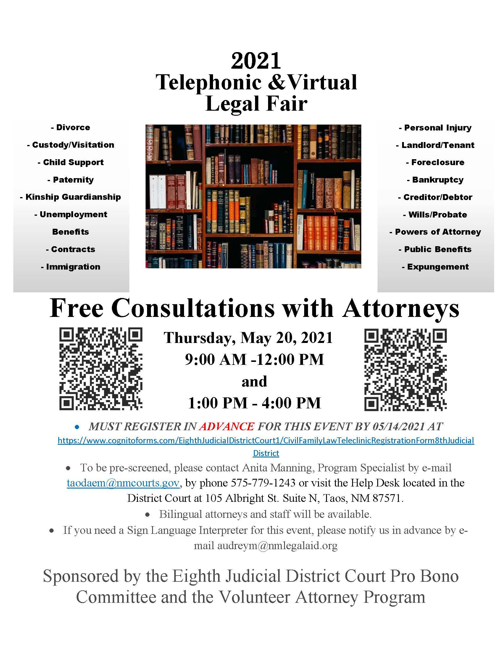 Taos Telephonic Virtual Free Legal Fair Flyer Page 1
