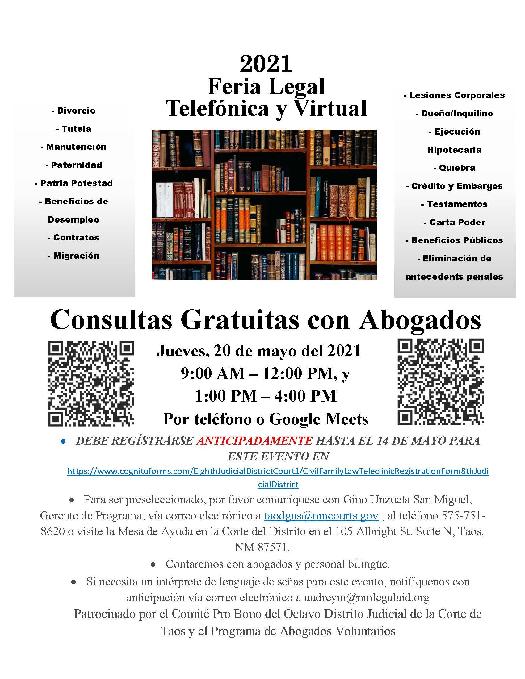 Taos Telephonic Virtual Fee Legal Fair 2020 Flyer Page 2